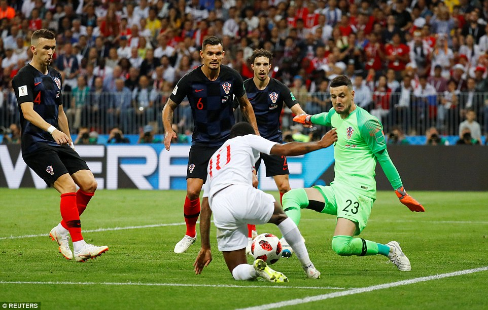 Sterling goes to ground inside the box as he tries to find a way through for England, despite Croatia defending in numbers