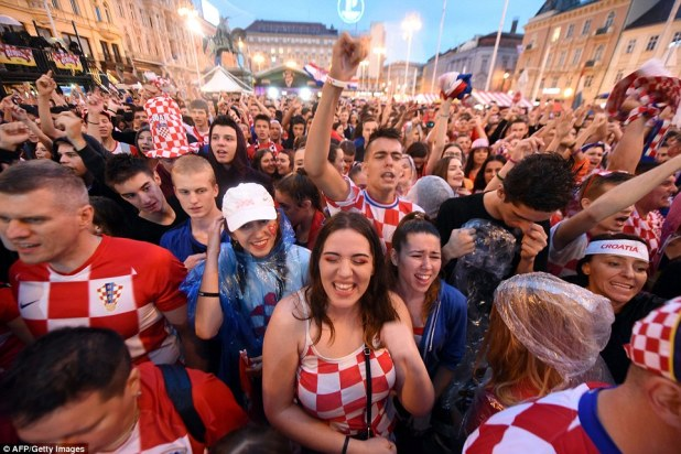 Croatia fans are celebrating wildly after victory over England set them up for their first ever World Cup final