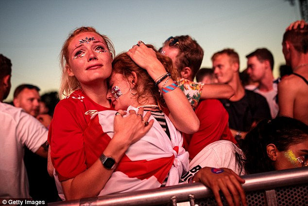 There was a somber mood among the 30,000 supporters after Croatia took the lead