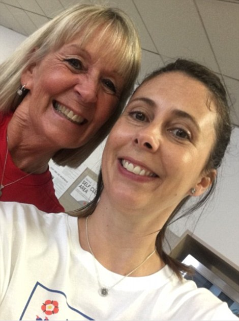 Tanya Sansford posted a picture of herself wearing an England shirt with a colleague she works with at Marks and Spencer