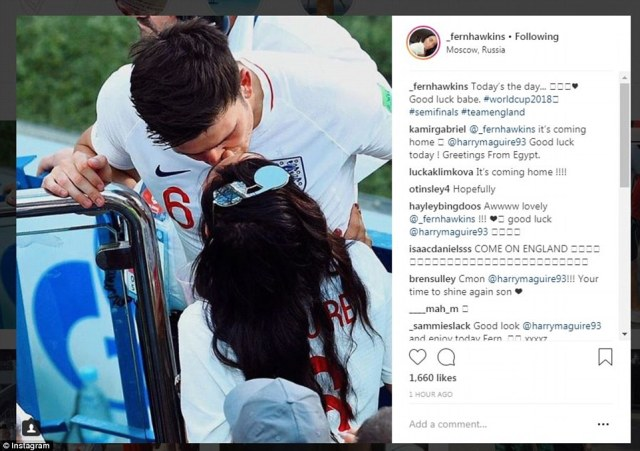The wives and girlfriends of England players have sent their love and support for the boys by posting pictures of them kissing after matches including Rebekah Vardy and Harry Maguire's partner Fern Hawkins