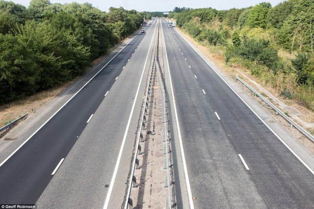 The A11 near Newmarket,Suffolk was very quiet on Wednesday evening just before kick off - while pubs and bars in England remain heaving