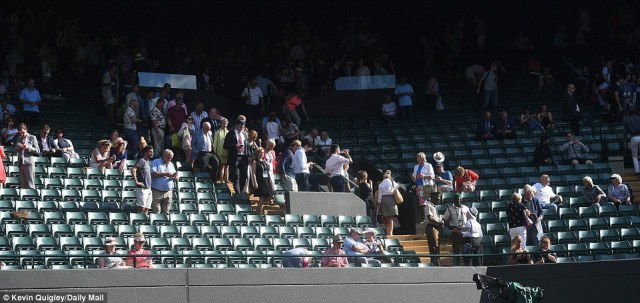 Many seats at Wimbledon were empty as England cleared out to get in front of TV screens for the football game in Russia