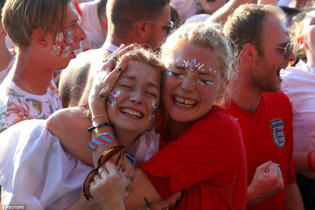 Tears of joy! Women at Hyde Park in London hugged one another as England took an early lead over Croatia in Moscow