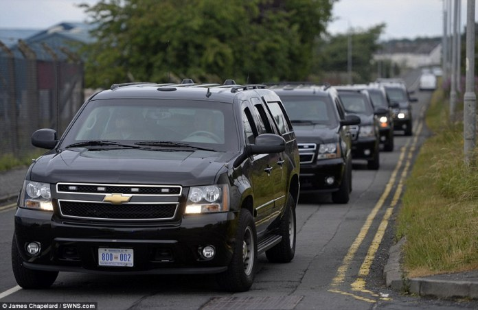 Nearly every force in England and Wales has contributed officers to help with the massive mobilisation, the biggest since the 2011 riots. Pictured: Part of the presidential motorcade