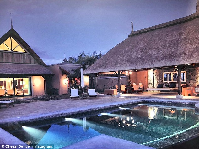Not too shabby:According to the resort's official website, a simple three-bedroom villa costs upwards of $6,400 for two adults, based on a five-night trip (pictured is where the clan are staying)