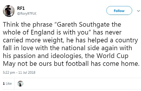 Fans were full of praise for Southgate online
