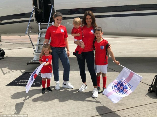 Becky Vardy, who is unofficial leader of the English WAGs in Russia, posted this photo as she flew to Moscow this morning ready for the game with the caption: 'Come on England'