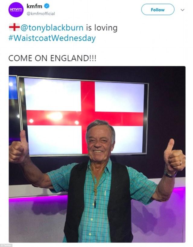 Radio DJ Tony Blackburn (pictured) dons a waistcoat ahead of his stint on KMFM this morning
