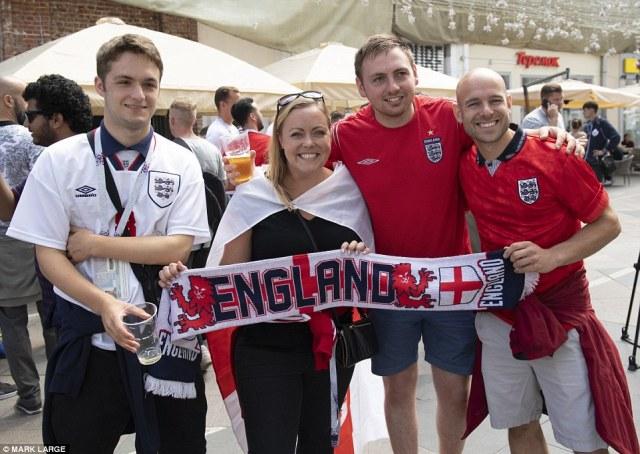 England fans dressed in waistcoats Ned Macdonald and Andy Blunden from Brightonin Nikolskaya street