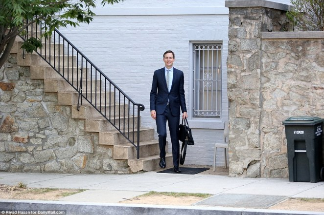 Senior White House adviser Jared Kushner, 37, was seen leaving his home earlier that day. He was apparently at home during the protest