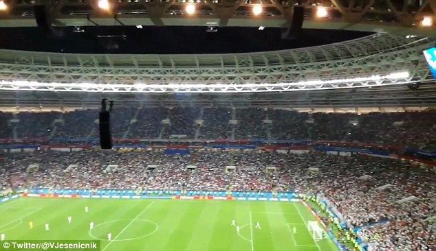 The incident wasn't shown on TV but a fan caught the moment inside the Luzhniki Stadium