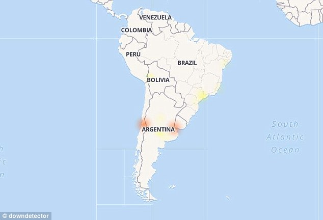 South America also experienced technical difficulties, as people reported the app was not working in Argentina, Uruguay, Brazil and Chile