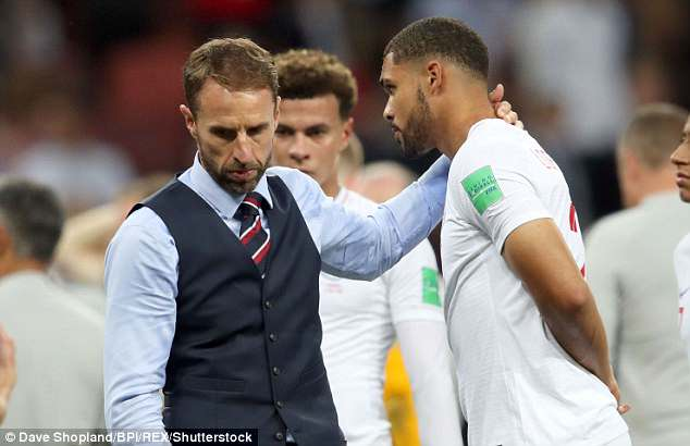 England Manager Gareth Southgate consoles Ruben Loftus-Cheek after England's defeat last night. There are calls for him to be given a knighthood following the World Cup