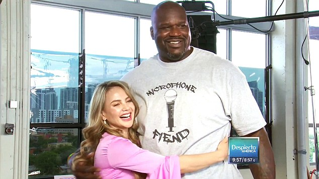 Shaquille O'Neal was surprised by ex-Univision weather girl Xiomara Cordoba during a visit tothe Despierto America studios late last month