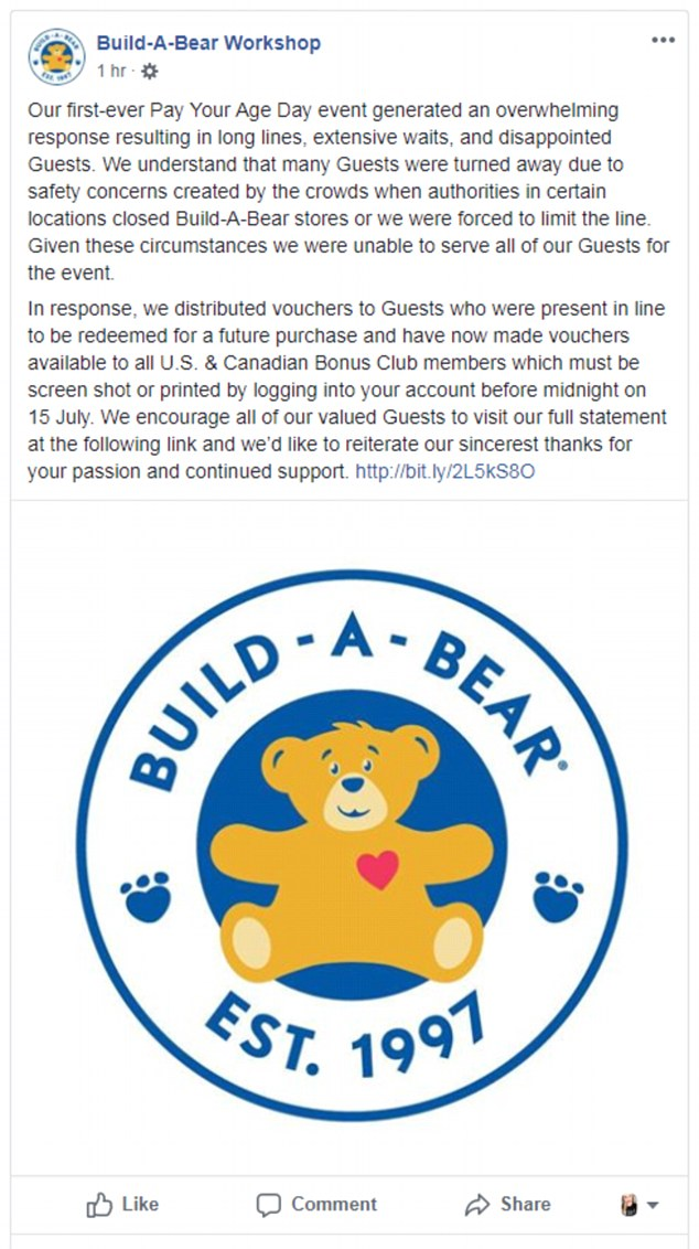 Build-A-Bear responded by apologized to their guests who missed out, and issuing vouchers for those who tried to take advantage of the sale