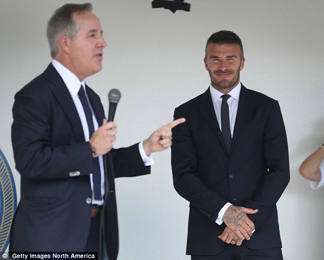 Beckham and Mas (left) attended the event to present more details of their proposals