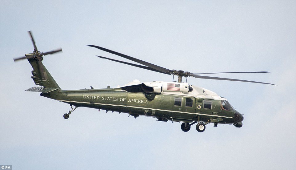 The Presidential helicopter Marine One ferried the Trumps from the US ambassador's residence in London to Blenheim Palace