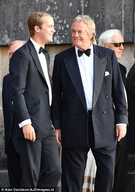The Duke of Malborough, James Spencer-Churchill (right in both photos above), with his son The Marquess of Blandford, who both welcomed the Trumps to their ancestral home Blenheim Palace