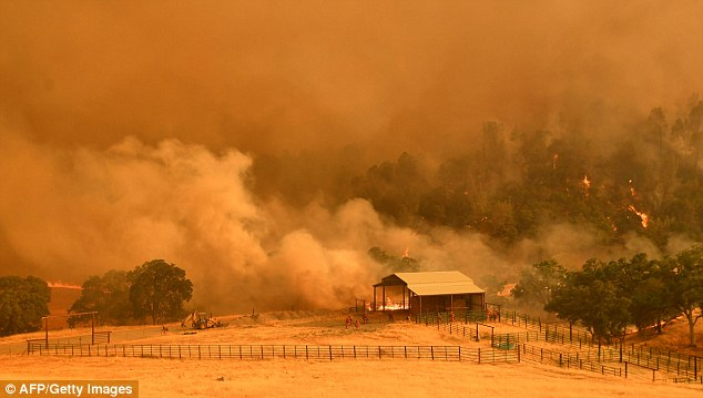 The women believe that the cause may be poison oak that may have been burnt in the wild fires that broke out over the weekend, a fire in Guinda, California pictured above