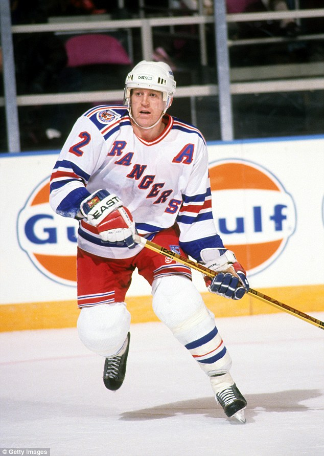 Leetch's husband Brian, 50, was a legendary Rangers star and was inducted into the Hockey Hall of Fame in 2009 (pictured in 1993 playing for the New York Rangers at the Madison Square Garden in New York)