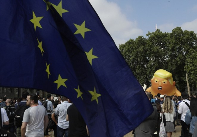 The Presidentproceeded to throw jabs at Mayor Khan, not only for allowing the baby blimp to fly above protests in London that are set to take place this week during his stay, but also for his criticism on Trump's travel ban on citizens from predominately Muslim countries