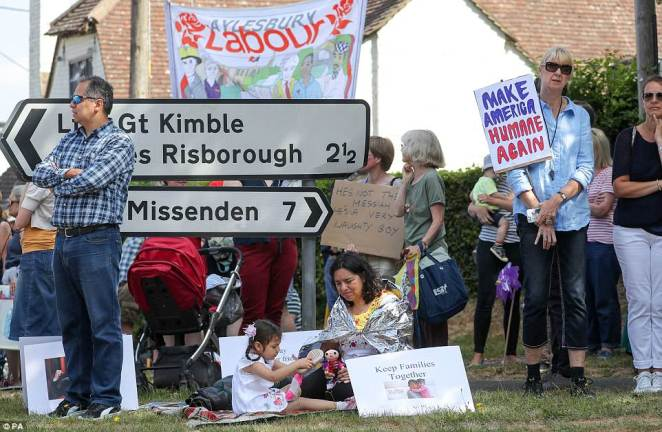Protesters had gathered near the Prime Minister's country residence, Chequers, ahead of the meeting with Mr Trump today