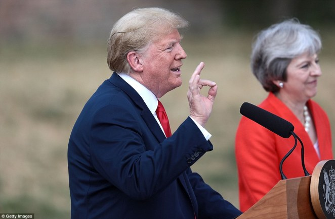 Donald Trump says he has got to know Theresa May much better over the past two days and said she is a terrific person