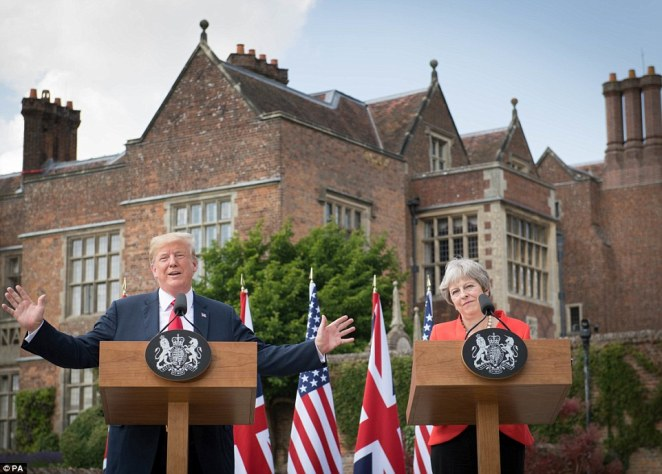 Donald Trump paid tribute to Mrs May 24 hours after he said that he was doing the 'opposite' of what he told her to do on Brexit