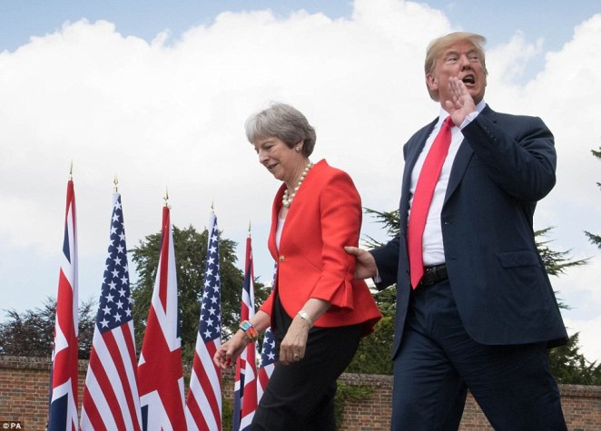 In a major U-turn Donald Trump said that Theresa May was doing a great job and and doing 'her best' to get a good Brexit deal