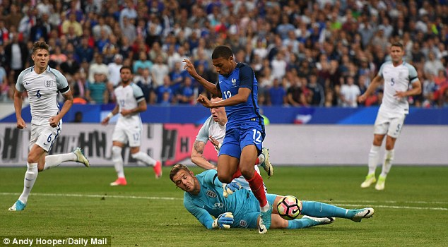 Psychologists found that those who could convincingly simulate or exaggerate pain would have had a survival advantage. Pictured isKylian Mbappe of France who also engages in 'play-acting antics'