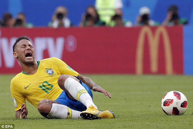 When you see a footballer such as Neymar (pictured) dive on the pitch you might lose a bit of respect for them. However, these devious squeals designed to deceive the referee could be an effective ancient survival strategy