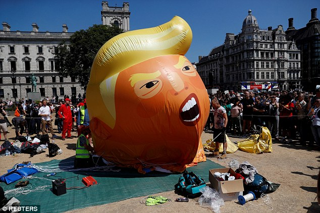 The much vaunted baby Trump blimp which flew above Parliament has been labelled a damp squib by social media