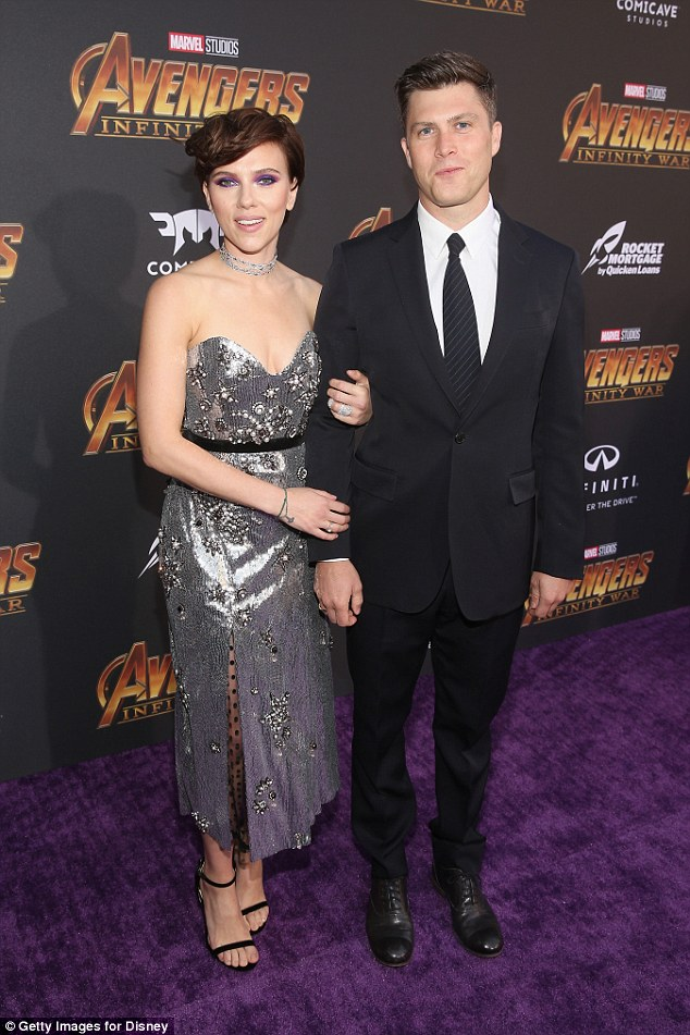 Date night: Scarlett and her Saturday Night Live beau Colin Jost, 36, at the LA premiere for Marvel Studios' Avengers: Infinity War on April 23, in which she played the Black Widow
