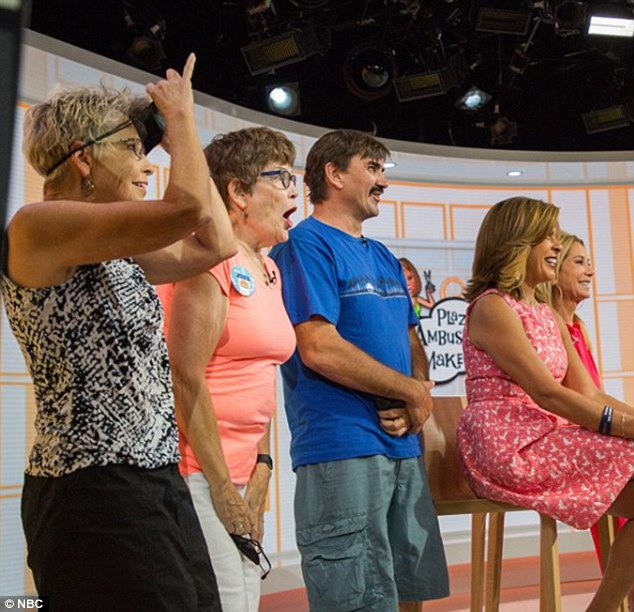 All together: Susan'saunt, mother, and husband were in the studio to support her