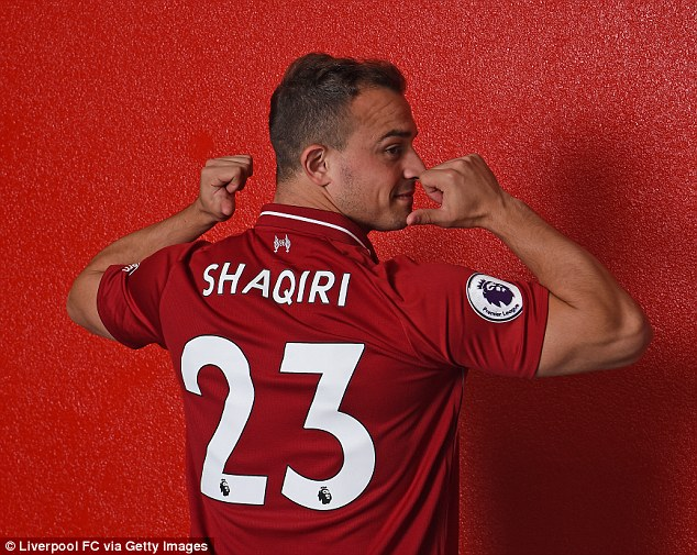 Shaqiri will wear the No 23 shirt that was vacated by Emre Can earlier this summer