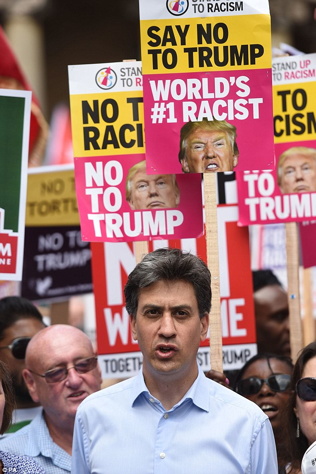Ed Miliband (centre) joins demonstrators on the 'Stop Trump' march through London, as part of the protests against the visit of US President Donald Trump to the UK
