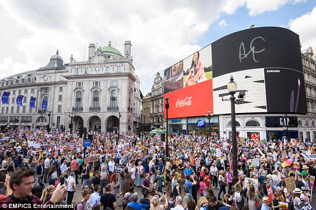 Packed: Tourist hot-spot Piccadilly Circus in Central London is completely overtaken by thousands of campaigners