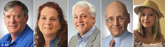 The five victims (from left to right) were writer John McNamara, special publications editor Wendi Winters, assistant editor Robert Hiaasen, editorial page editor Gerald Fischman, and sales assistant Rebecca Smith