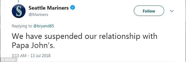 Meanwhile, the Mariners stated via Twitter: 'We have suspended our relationship with Papa John's.'