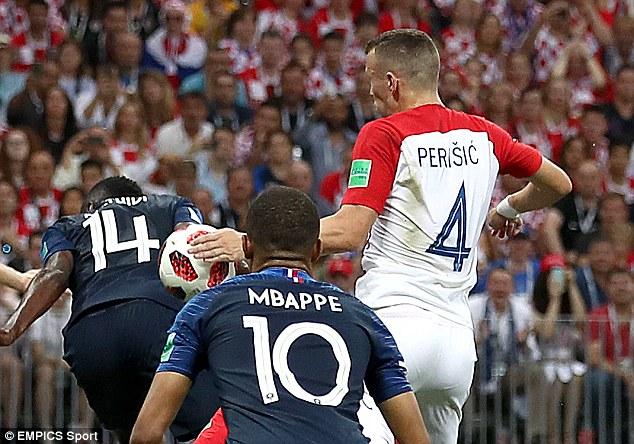 France won  a penalty after a VAR review adjudged Ivan Perisic to have handled the ball