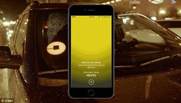 Uberis launching a slew of new features that are aimed at connecting drivers with riders. The first of such tools, called 'Spotlight', displays a unique color on the rider's screen (pictured)