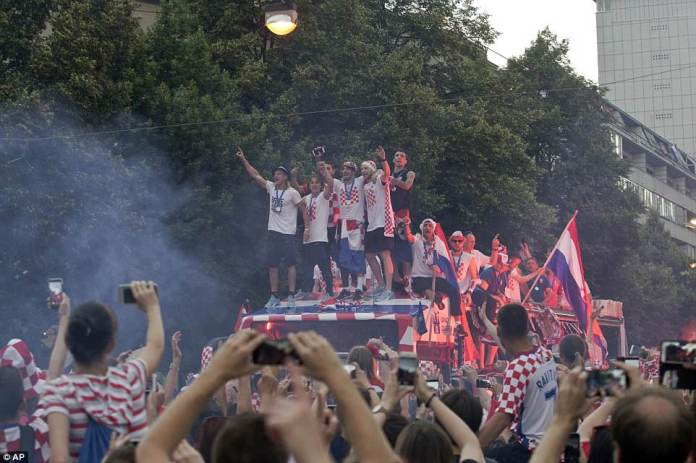 The team looked jubilant as they greeted crowds. Croatia have been in the World Cup just five times since declaring independence from Yugoslavia in 1991