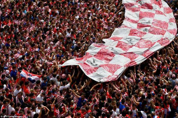 Earlier today Croatians held a giant banner with the national colours of the country