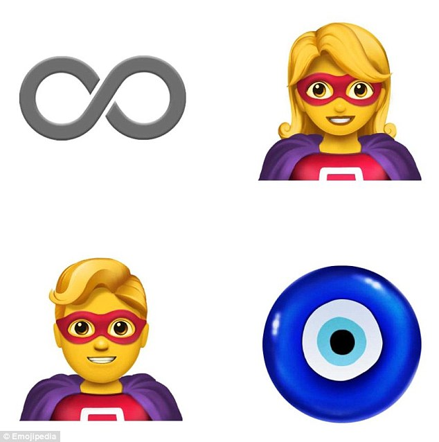 Superhero characters (bottom left and top right) will join an infinity sign (top left), a tennis ball, a test tube and even an evil eye symbol (bottom right)