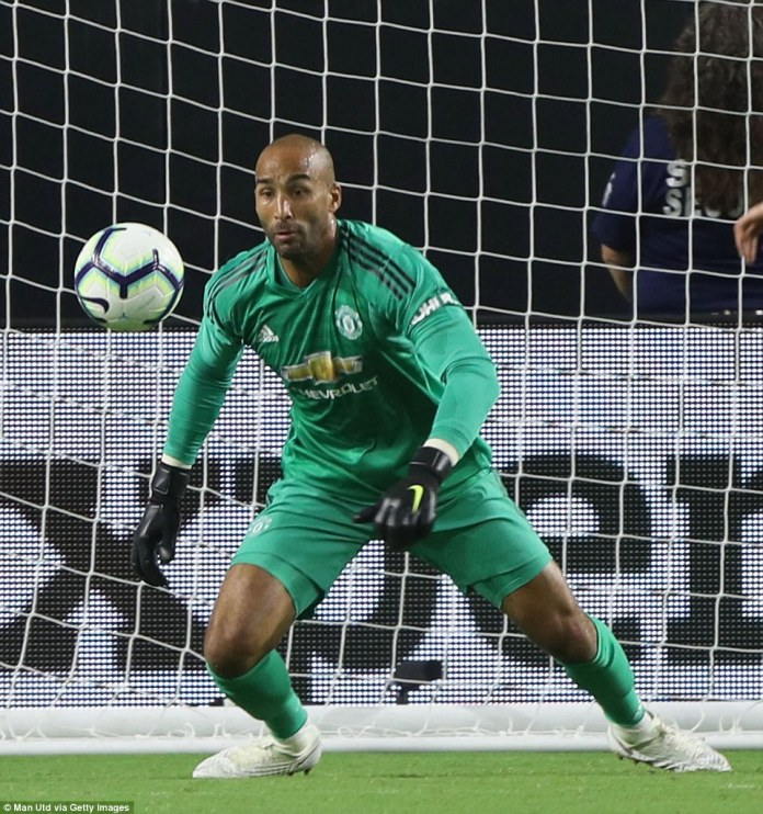 Lee Grant made a few good saves in the first half when called into action on his Manchester United debut