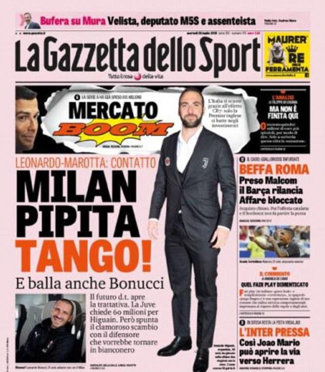 Italian outlet La Gazzetta dello Sport are reporting that AC Milan want to sign Gonzalo Higuain