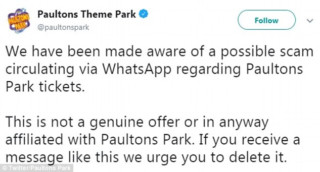 Paultons took to Twitter to combat the circulating rumours.It posted: 'We have been made aware of of a possible scam circulating via WhatsApp regarding Paultons tickets. This is not a genuine offer or in any way affiliated with Paultons Park. If you receive a message like this we urge you to delete it'