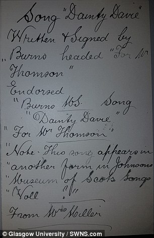 This image showsa forgery of the poem Dainty Davie