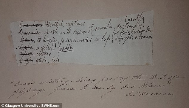 This information was fed into a computer programme which could classify forgeries from the genuine article. The system was tested on known fakes and real works by the poet, best known for writing Auld Lang Syne. This images shows a note from Burns to himself